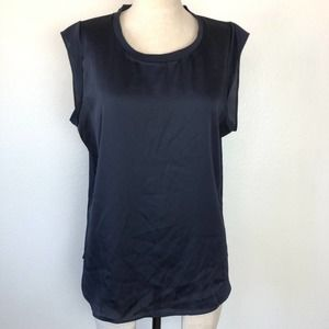 DKNY  Blue Tee Sheer Cap Sleeve Top M